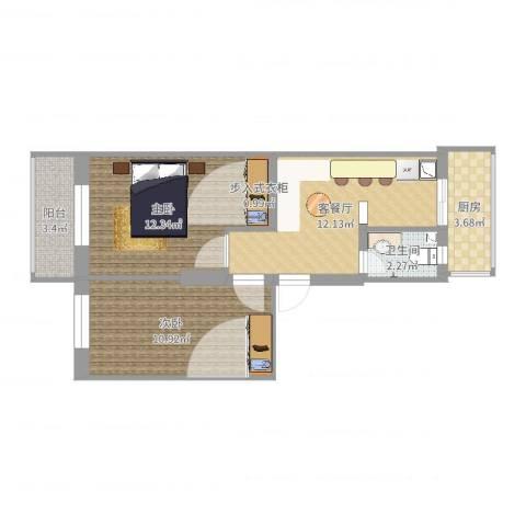 横江里2室2厅1卫1厨58.00㎡户型图