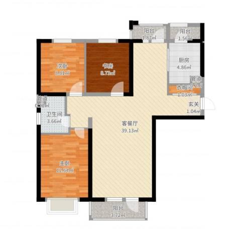 河畔名门3室2厅1卫1厨108.00㎡户型图