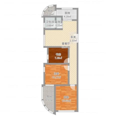 金水湾B区3室4厅1卫1厨70.27㎡户型图