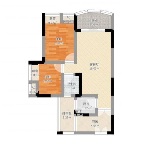 东福宏洲2室2厅1卫1厨57.00㎡户型图