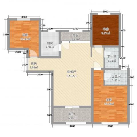 东方米兰国际城3室2厅2卫1厨126.00㎡户型图
