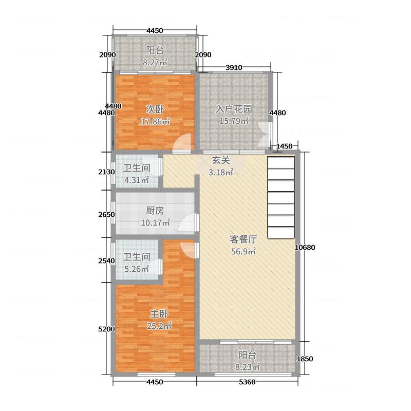 一米阳光・快乐家园190.00㎡G叠加二层户型2室2厅2卫1厨