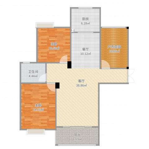 幸福人家小区2室1厅1卫1厨115.00㎡户型图