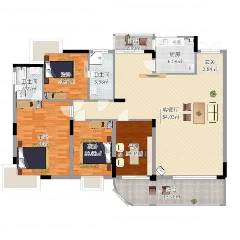 吉宁山庄4室2厅2卫1厨172.00㎡户型图