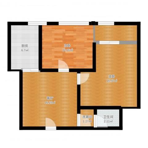 香格里拉尚城2室1厅1卫1厨74.00㎡户型图