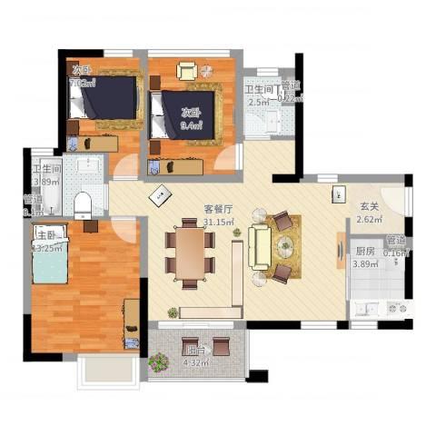 万科金域国际3室2厅2卫1厨109.00㎡户型图