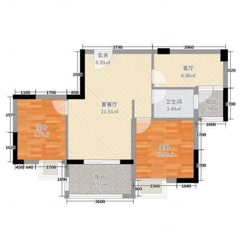 日华坊二期2室3厅1卫0厨82.00㎡户型图