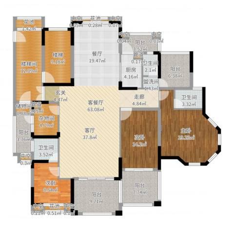 金海岸花园・聚湖3室2厅3卫1厨224.00㎡户型图