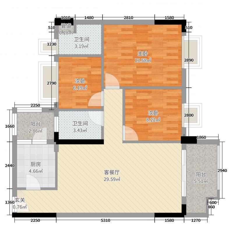 日华坊二期104.00㎡4幢02/03户型3室3厅2卫1厨