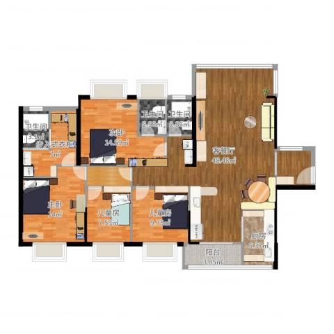 正德天水湖4室2厅3卫1厨158.00㎡户型图