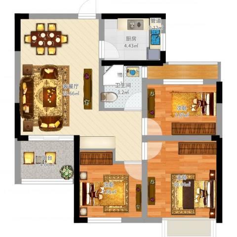 龙湖湘风原著3室2厅2卫1厨77.00㎡户型图