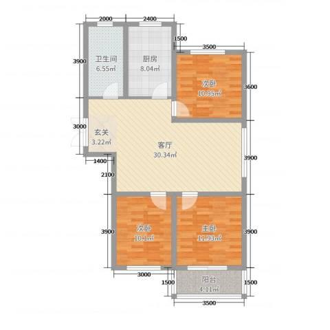 凤凰城3室1厅1卫1厨82.01㎡户型图