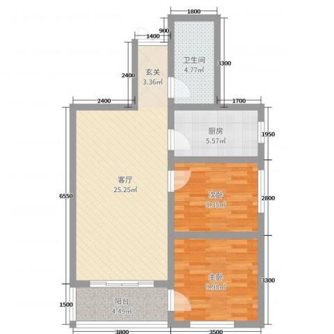 凤凰城2室1厅1卫1厨58.40㎡户型图