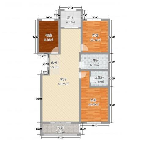 凤凰城3室1厅2卫1厨139.00㎡户型图
