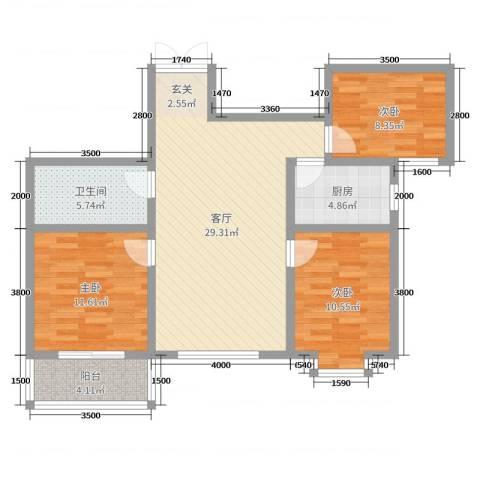凤凰城3室1厅1卫1厨111.00㎡户型图