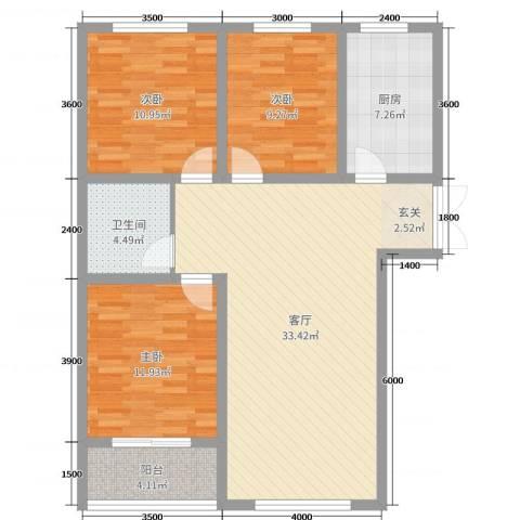凤凰城3室1厅1卫1厨81.43㎡户型图