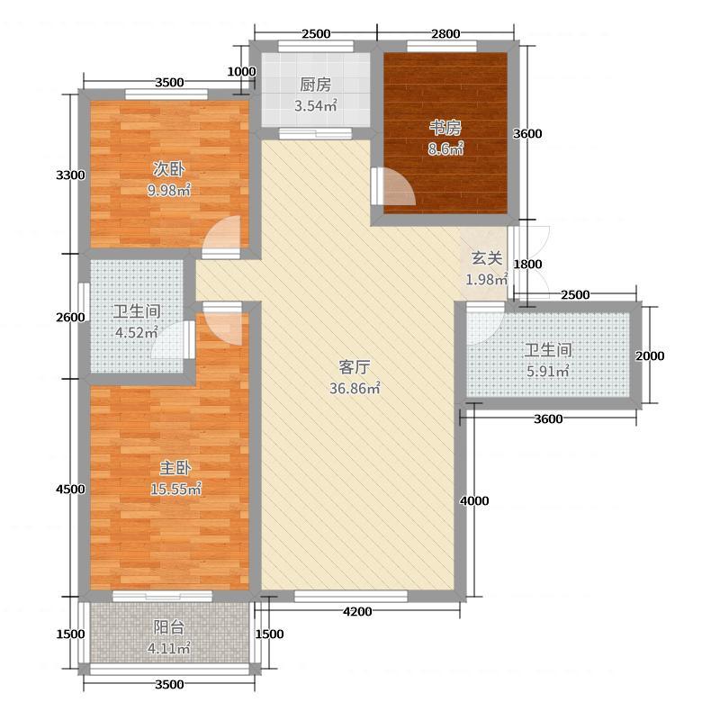 凤凰城127.82㎡A18#/19#户型3室3厅2卫1厨
