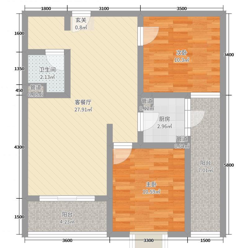 万湖东城83.43㎡E户型2室2厅1卫1厨