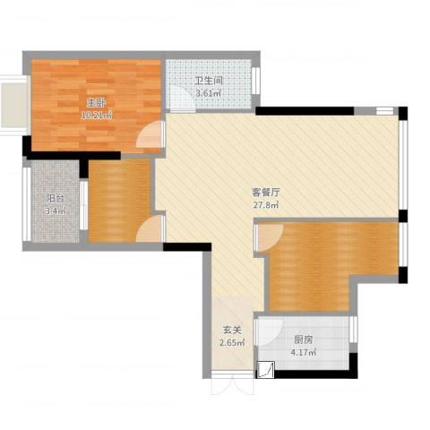 莲花湖小区二期1室2厅1卫1厨78.00㎡户型图