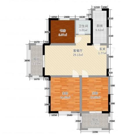 德惠尚书房3室2厅1卫1厨105.00㎡户型图