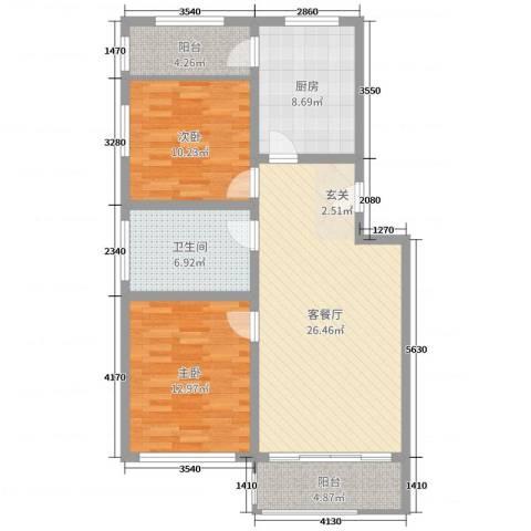 广厦・凤凰城2室2厅1卫1厨93.00㎡户型图