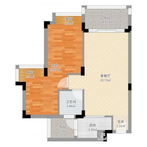 天保花园1室2厅1卫1厨71.00㎡户型图