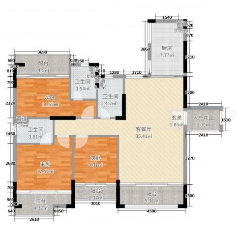 翡翠明珠3室2厅3卫1厨108.24㎡户型图
