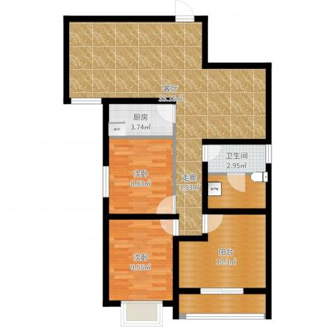 帝豪天成2室1厅1卫1厨94.00㎡户型图
