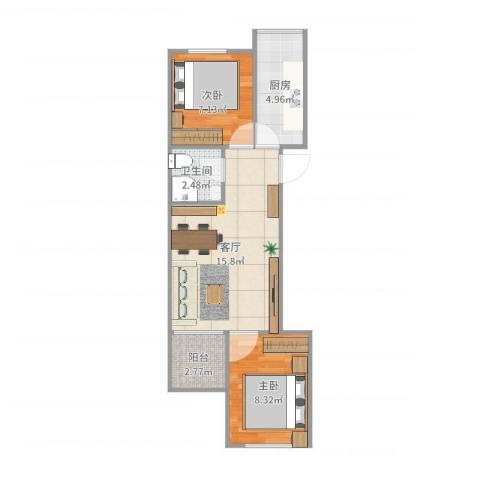 古城环卫楼2室1厅1卫1厨52.00㎡户型图