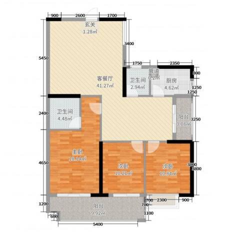 金丰花园3室2厅2卫1厨128.00㎡户型图