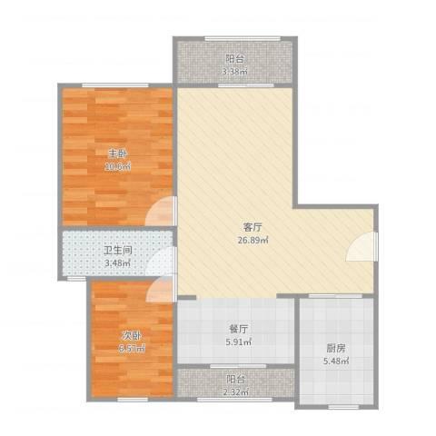 绿地玲珑寓2室1厅1卫1厨73.00㎡户型图