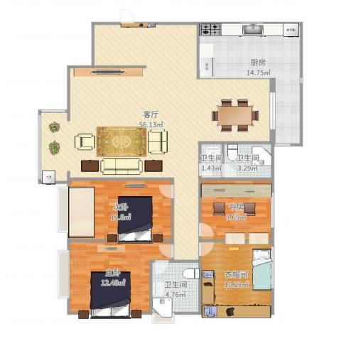 枫林.和平花园3室1厅3卫1厨155.00㎡户型图