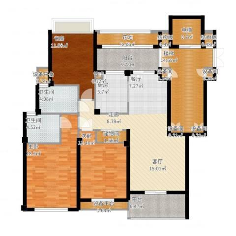 江南一品园3室2厅2卫1厨190.00㎡户型图