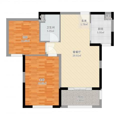 万科金域华府二期2室2厅1卫1厨77.00㎡户型图