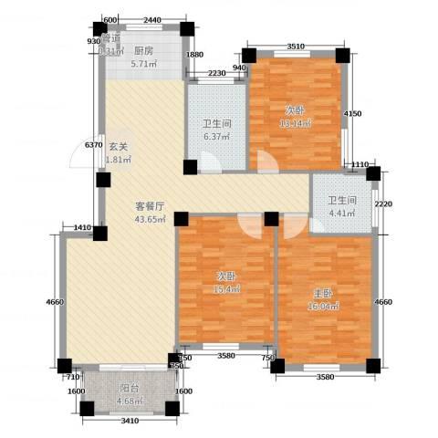 滨江丽景3室2厅2卫0厨130.00㎡户型图