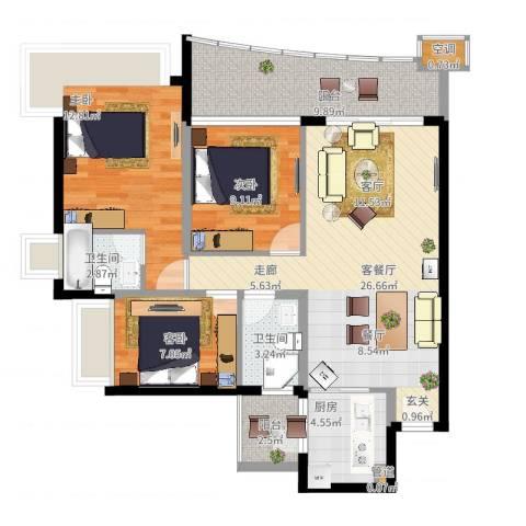 嘉信城市花园五期3室2厅2卫1厨114.00㎡户型图