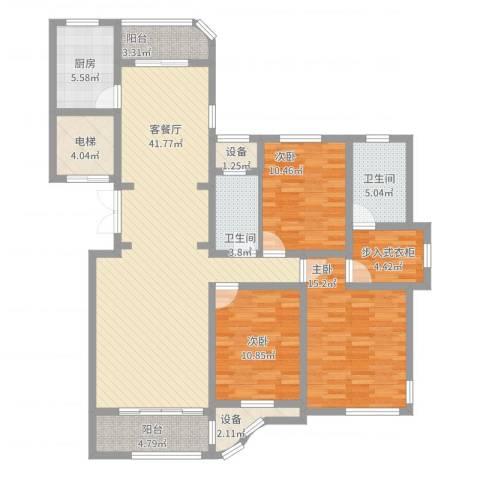 文峰城市广场3室2厅2卫1厨165.00㎡户型图