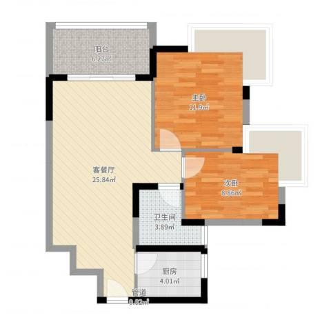 金色华庭二期2室2厅1卫1厨76.00㎡户型图