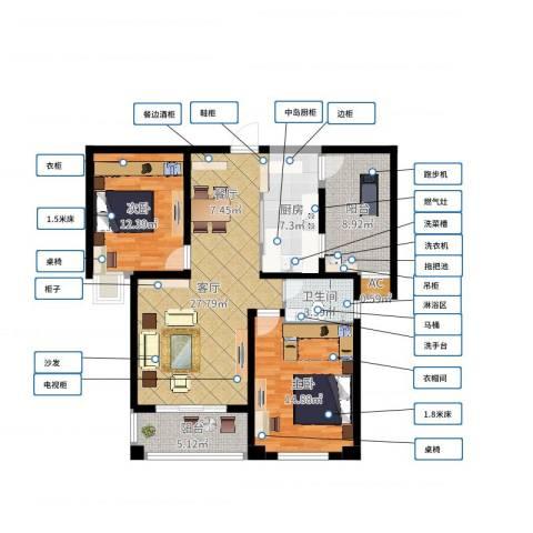 润泽东都二期宽域2室1厅1卫1厨100.00㎡户型图