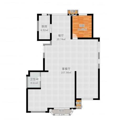中冶・德贤公馆1室2厅1卫1厨168.00㎡户型图