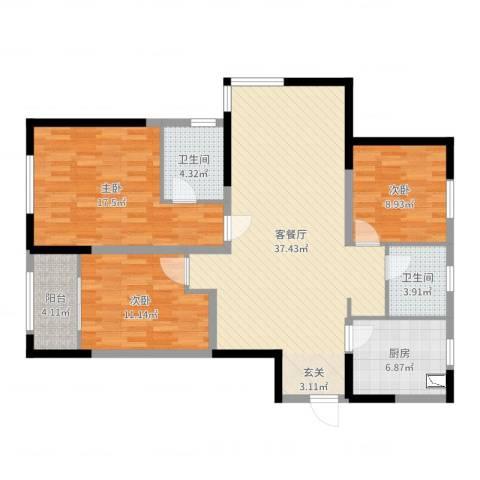 中建新悦城3室2厅2卫1厨118.00㎡户型图