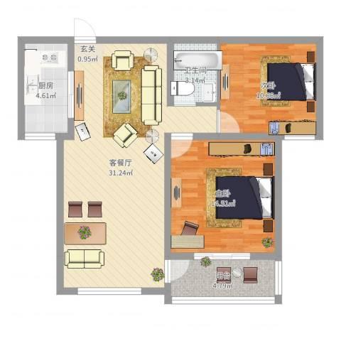 齐云雅苑2室2厅1卫1厨98.00㎡户型图