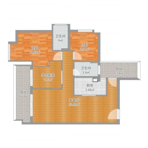 博达汇峰2室2厅2卫1厨115.00㎡户型图