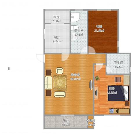 海棠花园2室1厅2卫1厨108.00㎡户型图