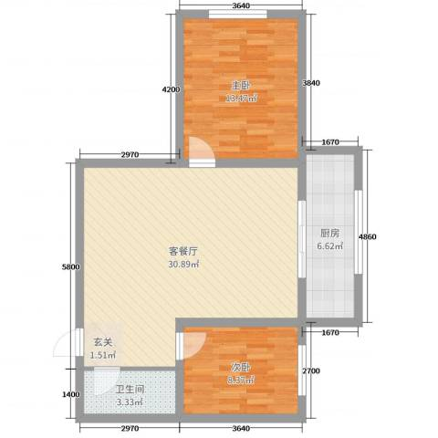 东方新居2室2厅1卫1厨80.00㎡户型图