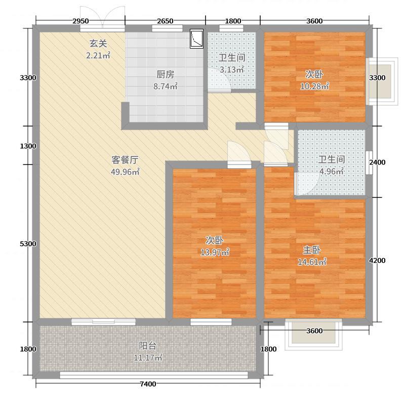 惠通才郡143.00㎡B栋A2户型3室3厅2卫1厨