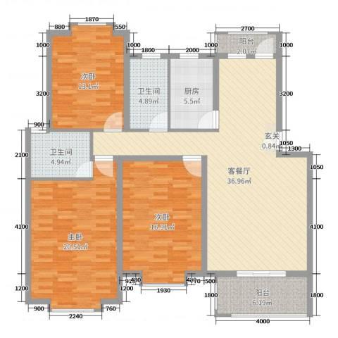 珍贝金鼎国际3室2厅2卫1厨130.00㎡户型图