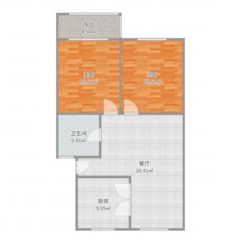共青小区2室1厅1卫1厨99.00㎡户型图