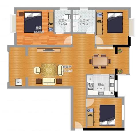东城尚品1室2厅2卫1厨121.00㎡户型图