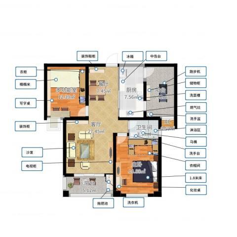 润泽东都二期宽域1室1厅1卫1厨100.00㎡户型图